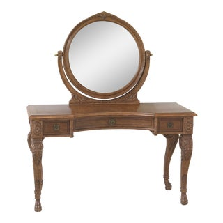 Jeff Co Regency Style Walnut Vanity With Attached Mirror For Sale