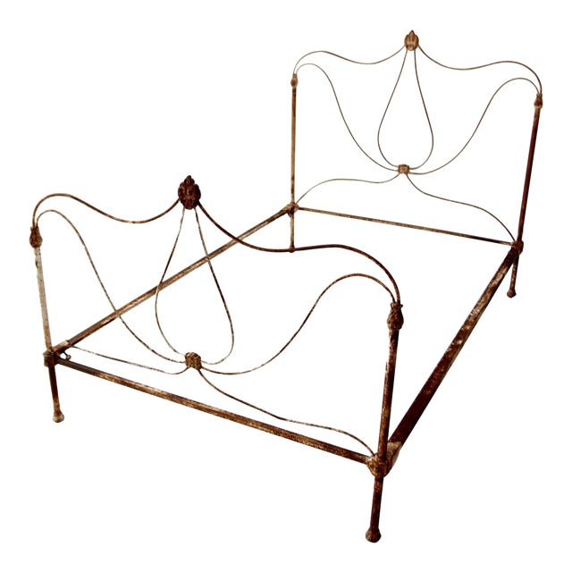 Antique Art Nouveau Iron Bed - Image 1 of 10