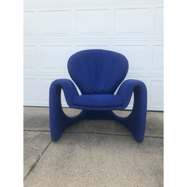 Olivier Mourgue 1980s Vintage Post Modern Curvy Accent Chair For Sale - Image 4 of 10