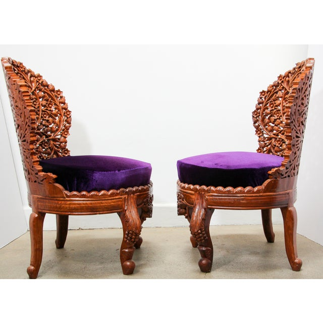 Anglo-Raj Carved Wood Side Lounge Chairs - a Pair For Sale - Image 11 of 13