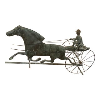 20th Century Traditional Horse and Sulky Copper Weathervane For Sale