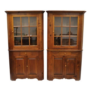 20th Century Country Tom Seely Pine Wood Corner Cupboard China Cabinets - a Pair For Sale