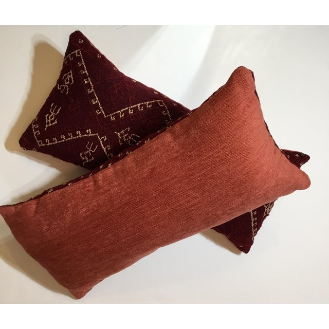 Hand Embroidery Textile Pillows - A Pair For Sale - Image 10 of 10