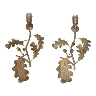 1930s French Bronze Oak Leaf and Acorn Wall Sconces - a Pair
