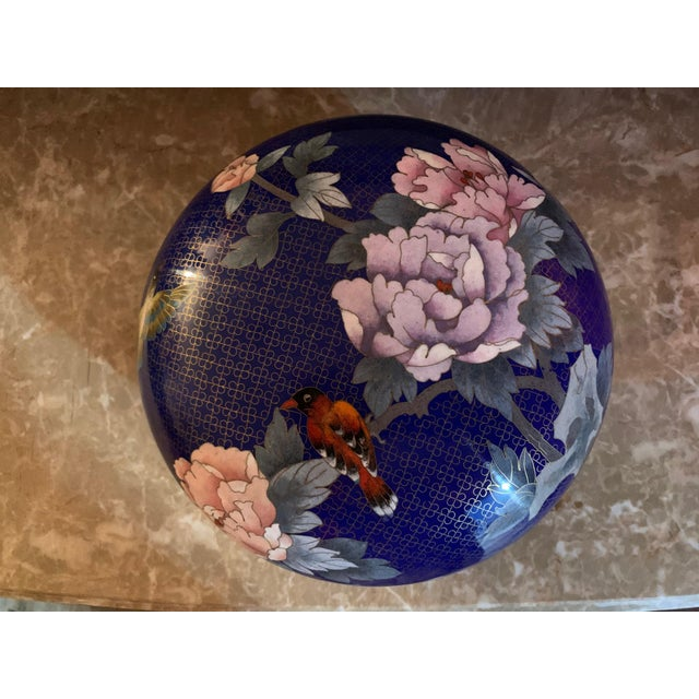 """Metal Large """"Cloisonne"""" Enamel Bronze Bowl With Top For Sale - Image 7 of 10"""