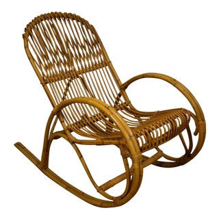 Frank Albini Style Bamboo Rocking Chair For Sale