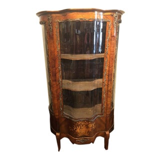 1900s Antique French Rosewood Marquetry Serpentine Front Display Cabinet For Sale