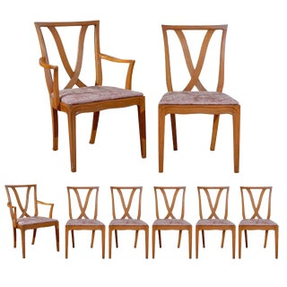 "Beautiful Set of 8 "" X "" Back Dining Chairs by Tomlinson - Choice of Finish For Sale"