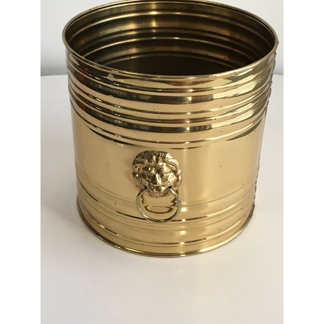 Lion Head Brass Planter, Made in England For Sale - Image 4 of 11