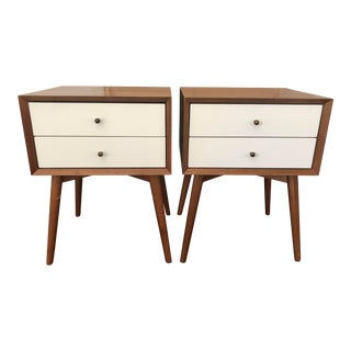 Mid-Century Modern West Elm Bedside Tables - a Pair For Sale