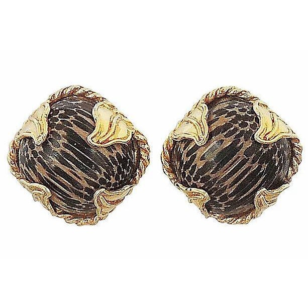 Metal 1980s Dominique Aurientis Striped Earrings For Sale - Image 7 of 7
