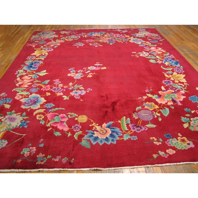 "Chinese 1930s Chinese Art Deco Rug - 8'9""x11'6"" For Sale - Image 3 of 10"