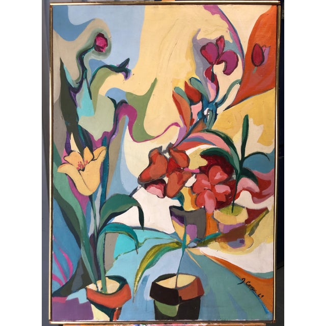 Blue 1969 Floral Painting Mid Century Still Life Ny Artist For Sale - Image 8 of 8