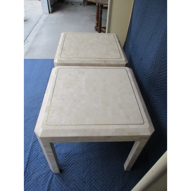 Maitland Smith Tessellated Stone and Brass Side Tables - a Pair For Sale - Image 10 of 12