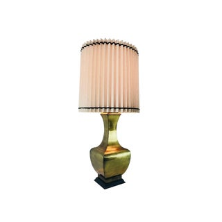 Large Scale Brass Mid-Century Table Lamp For Sale