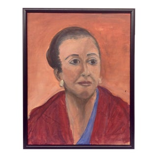 1950s Expressionist Oil Portrait on Canvas For Sale