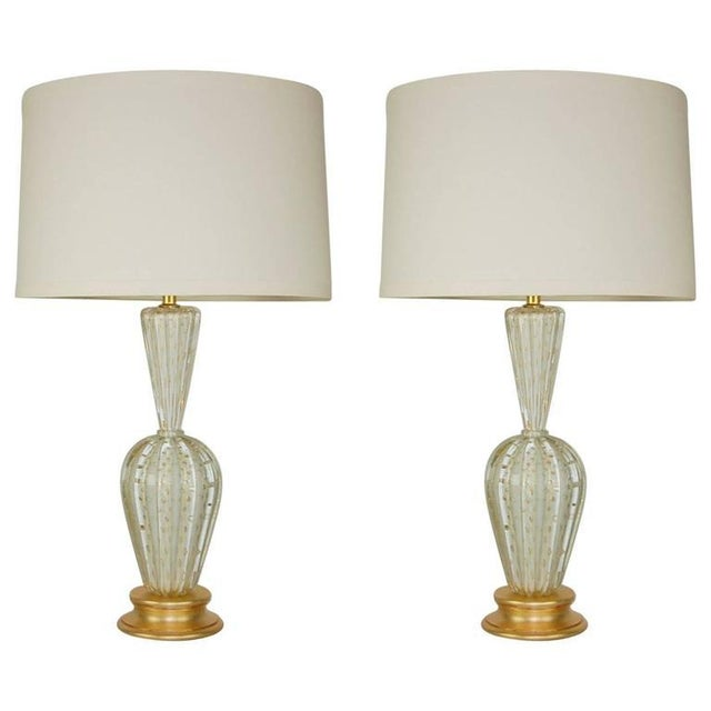 Vintage Murano Glass Table Lamps White Bubbles For Sale - Image 13 of 13