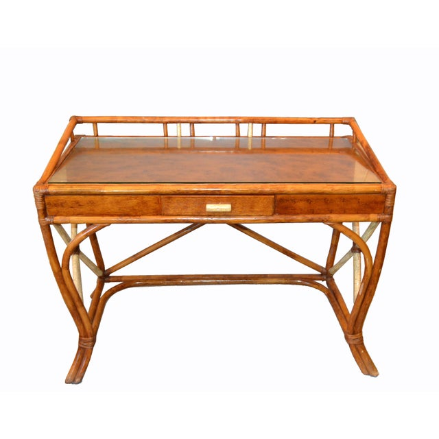 Boho Chic Vintage Handcrafted Bamboo Desk, Writing Desk with Drawer & Glass Top. Stunner done with bended Bamboo and...