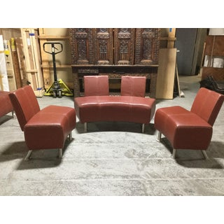 Vintage Industrial Leather & Steel Sofa Set Preview