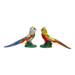 Scale Italian Terracotta Pheasant Birds - a Pair For Sale
