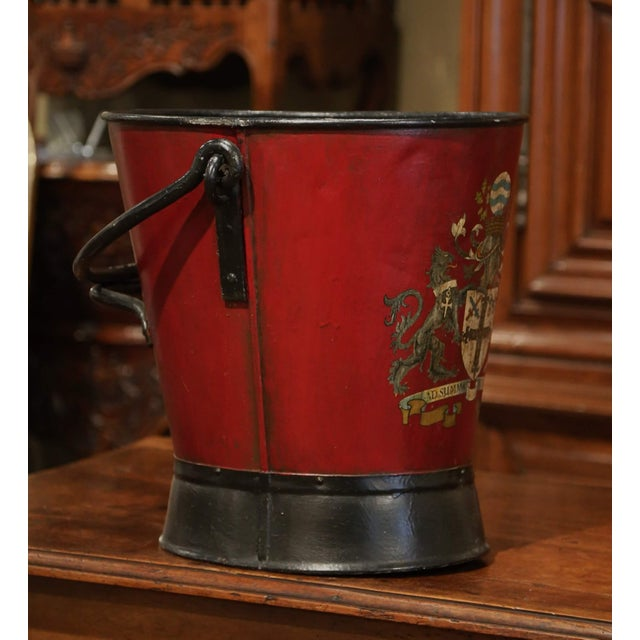 19th Century French Black and Red Iron Coal Basket With Decorative Painted Decor For Sale In Dallas - Image 6 of 11