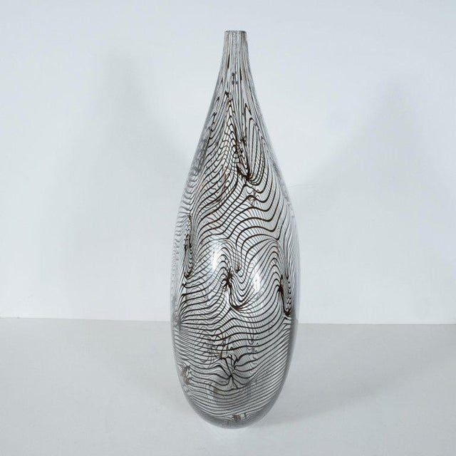 Glass Modernist Hand Blown Murano Translucent Tear Drop Vase With Black Swirl Details For Sale - Image 7 of 10