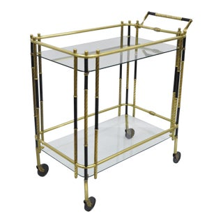 Vintage Italian Modern Brass & Glass Rolling Bar Cart