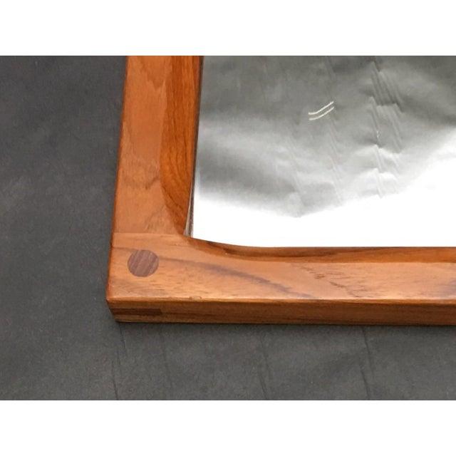 Danish Modern 1960's Vintage Mid Century Modern Askel Kjersgaard for Odder, Denmark Teak Mirror For Sale - Image 3 of 7