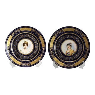 Circa 1900 Royal Vienna Style Porcelain Hand Painted Portrait Plates - A Pair