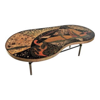 1957 Mid-Century Modern Inlaid Copper, Resin, Shell and Stone Coffee Table