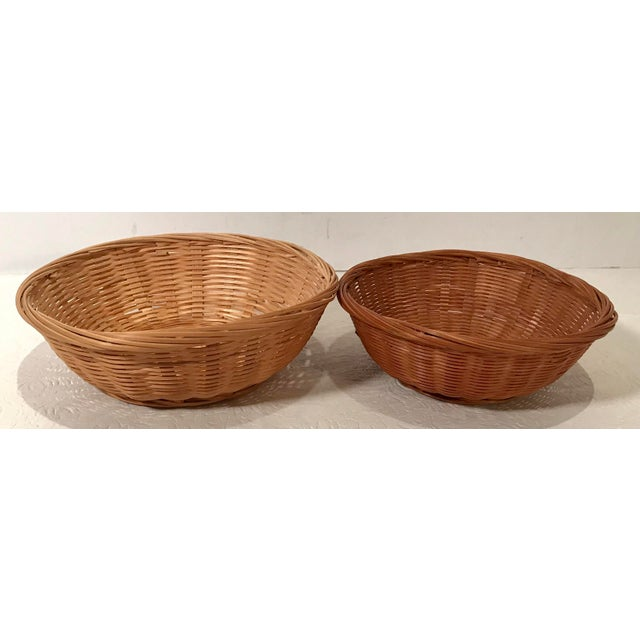 Mid-Century Modern Vintage Nesting Baskets - a Pair For Sale - Image 3 of 6
