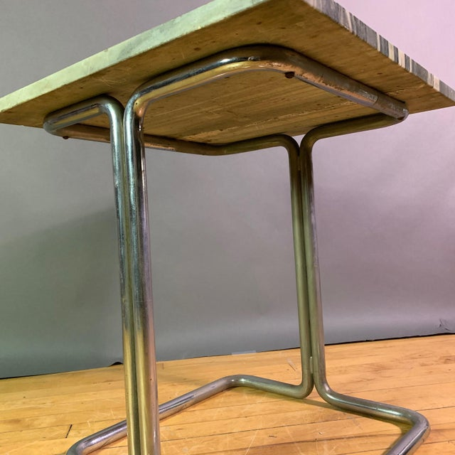 Wolfgang Hoffman (Attr) 1930s Tubular Chrome & Marble Table For Sale - Image 10 of 11