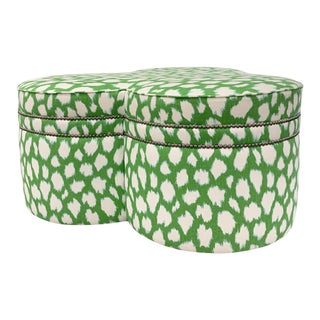 Contemporary Large Cloverleaf-Shaped Ottoman Upholstered in Kate Spade Fabric For Sale