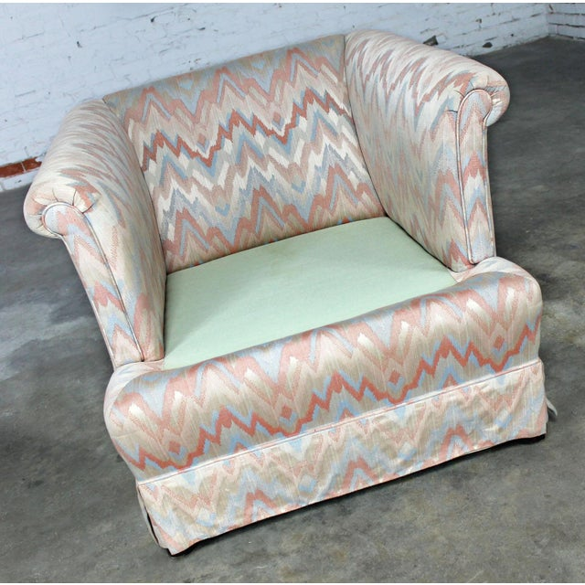 Textile Tuxedo Style Skirted Lounge Chair with Rolled Arms and Flame Stitch Upholstery For Sale - Image 7 of 11