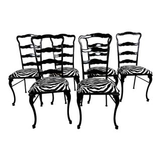 1950s French Cast Iron Garden Chairs - Set of 6 For Sale