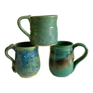 Vintage Handmade Pottery Mugs - Set of 3