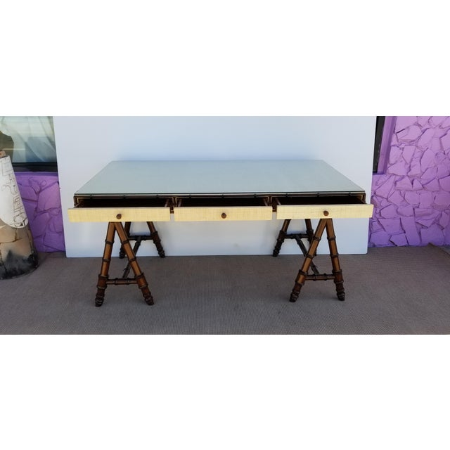 Hollywood Regency Williams Sonoma Home Faux Bamboo and Cane Classic Desk For Sale - Image 10 of 13