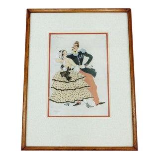 """Serge Ivanoff """"La Polka"""" Paris Framed Vintage Print, 1937"""