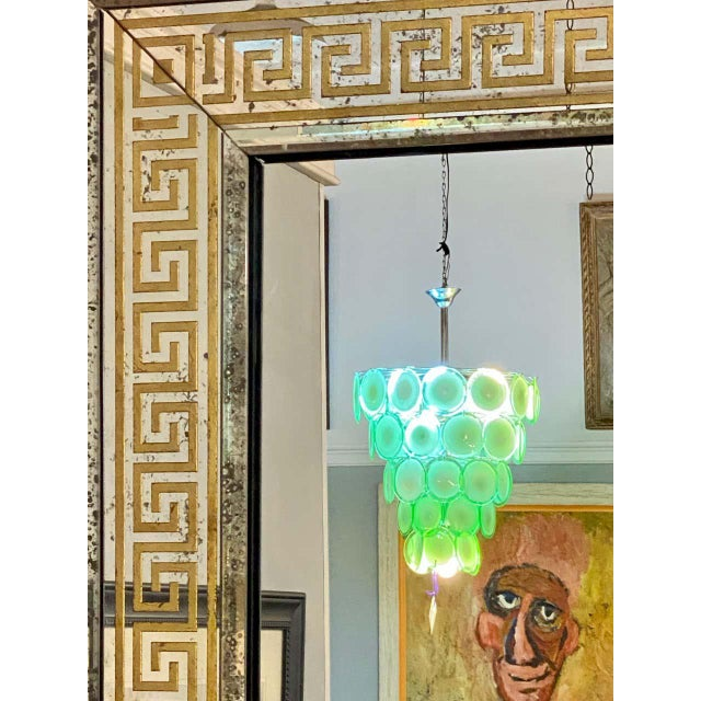 Hollywood Regency Mirrors Gilt Gold Greek Key Design Wall, Console Pier a Pair For Sale - Image 9 of 13