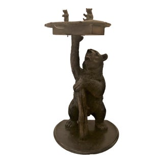 Antique Black Forest Carved Oak Smoker's Stand, Circa 1880. For Sale