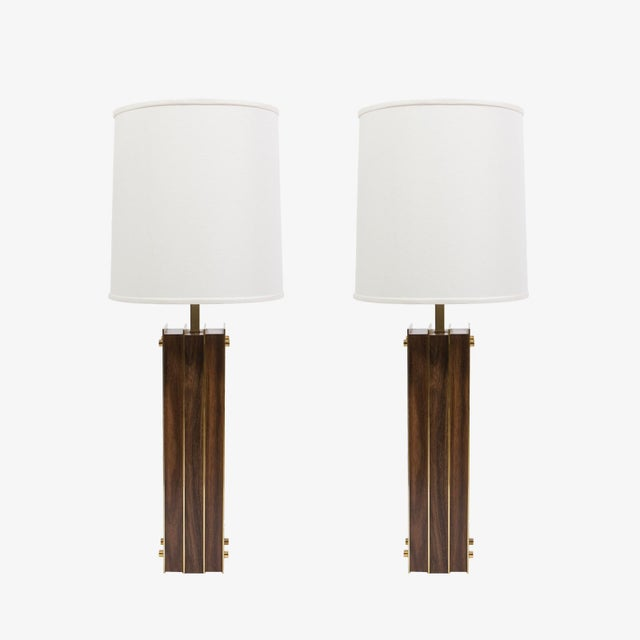 Pair of Laurel I-Beam table lamps with wood and brass. 1950s. Price for pair.