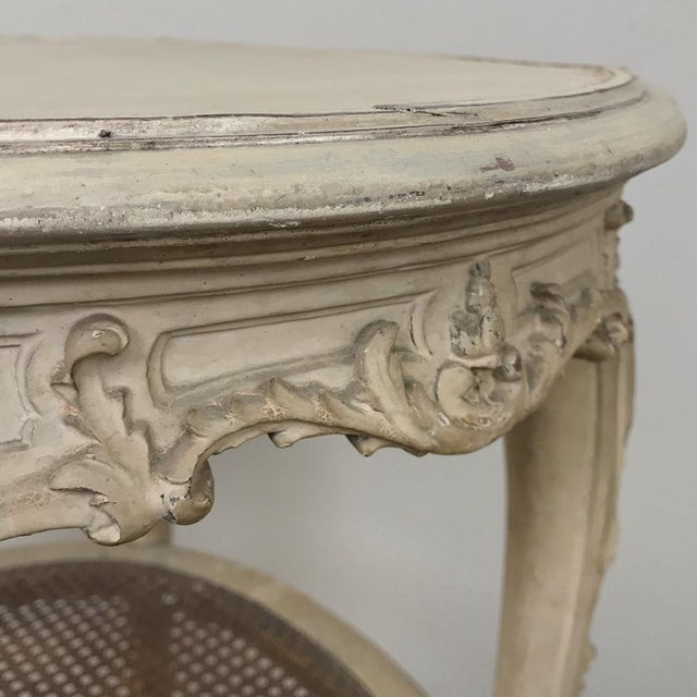 19th Century French Louis XVI Painted Oval End Table For Sale - Image 10 of 13