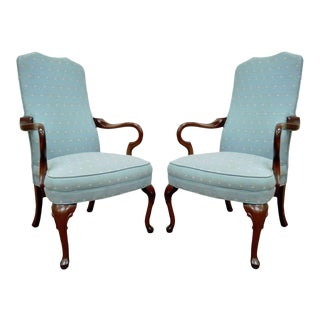 Pair Ethan Allen Usa Vintage Queen Anne Library Office Lounge Fireside Arm Chair For Sale