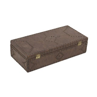 Studded Faux Leather Wrapped Hinged Wooden Box For Sale