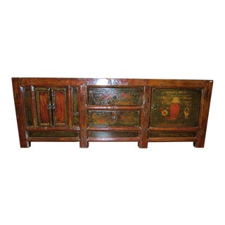 Antique Chinese Painted Pine Wood Sideboard For Sale