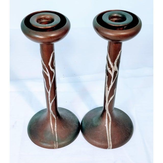 Art Deco Heintz Sea Grass Bronze Candlesticks - A Pair For Sale - Image 3 of 9