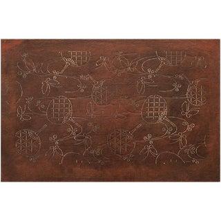 C. 1850s Antique Edo Era Fans and Butterflies Katagami Stencil Art For Sale