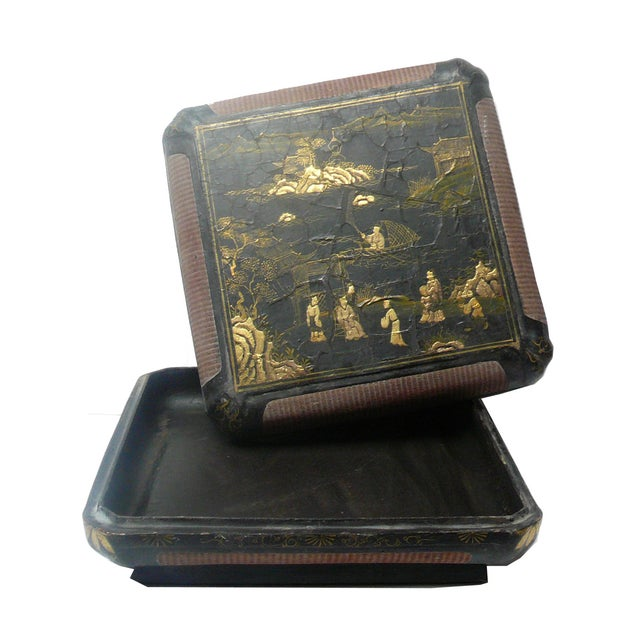 Vintage Chinese Rattan Lacquer Box - Image 5 of 6
