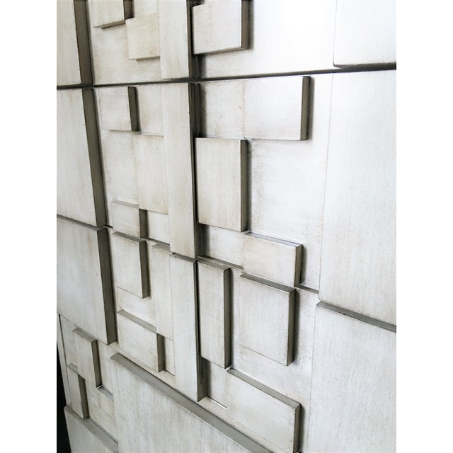 Wood Brutalist White Finish Tall Cabinet or Chest by Lane For Sale - Image 7 of 9