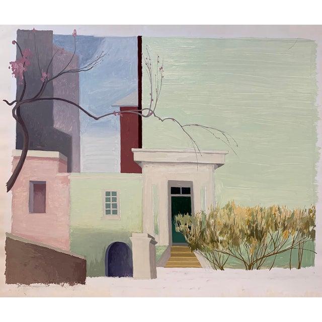 """Henniker Muse Façade"" oil painting on paper. By Celia Reisman C. 2000."